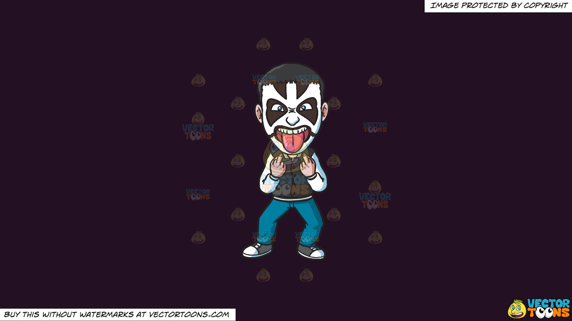 A Face Painted Rock Fan On A Solid Purple Rasin 241023 Background thumbnail