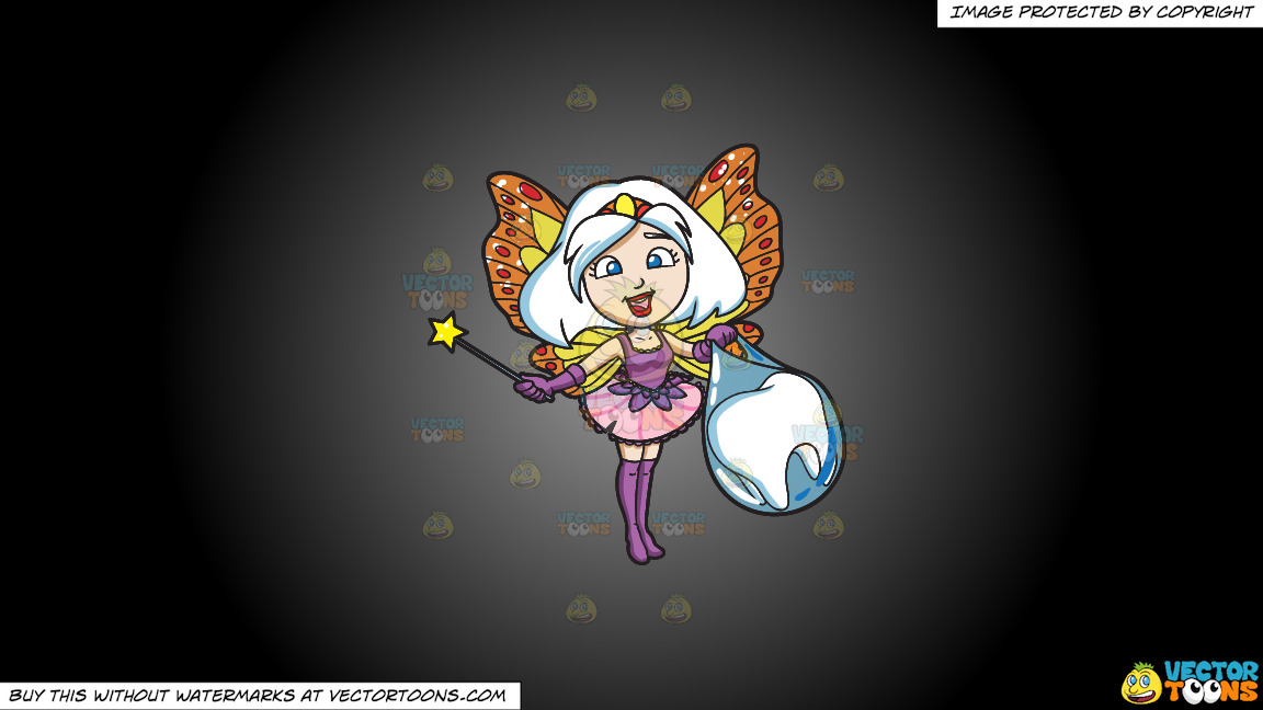 A Fairy Bagging A Tooth On A Grey And Black Gradient Background thumbnail