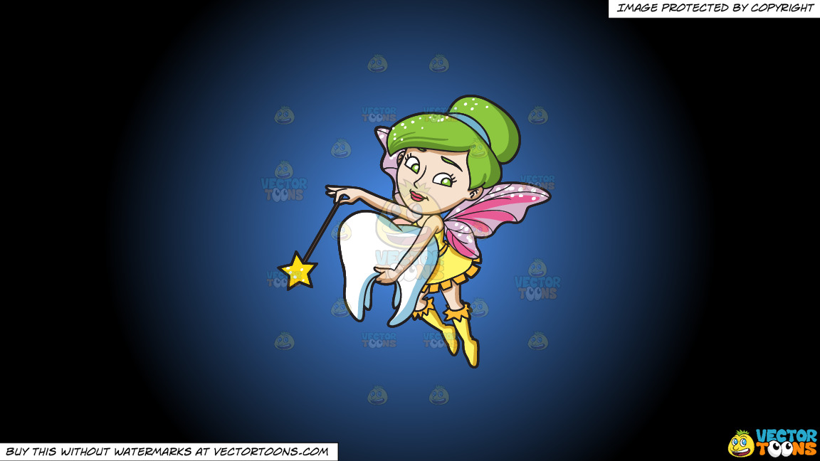 A Fairy Grabbing A Tooth On A Blue And Black Gradient Background thumbnail