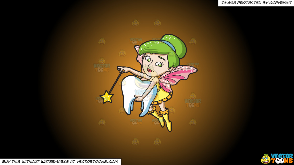 A Fairy Grabbing A Tooth On A Orange And Black Gradient Background thumbnail
