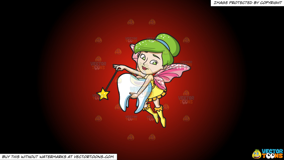 A Fairy Grabbing A Tooth On A Red And Black Gradient Background thumbnail