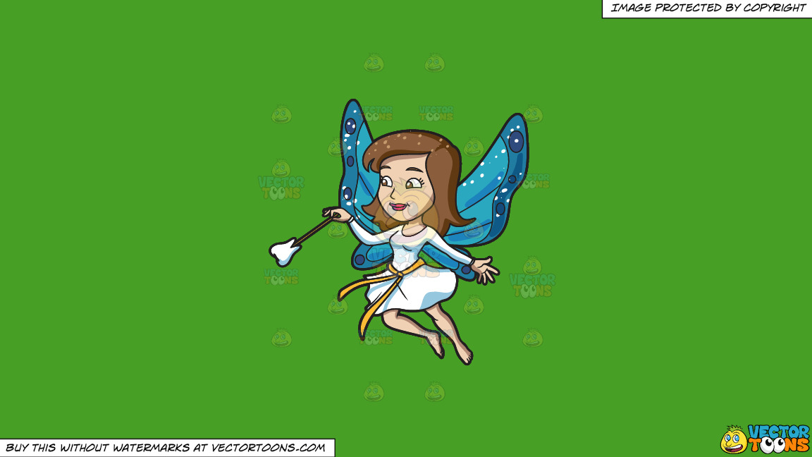 A Fairy With A Tooth Wand On A Solid Kelly Green 47a025 Background thumbnail