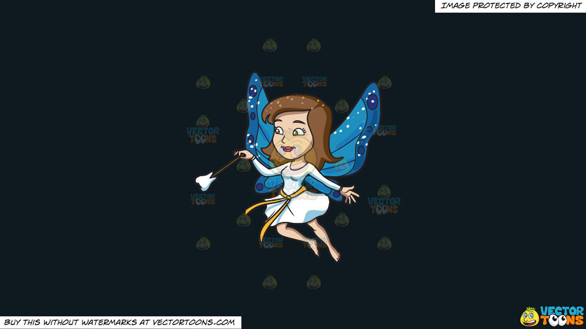 A Fairy With A Tooth Wand On A Solid Off Black 0f1a20 Background thumbnail