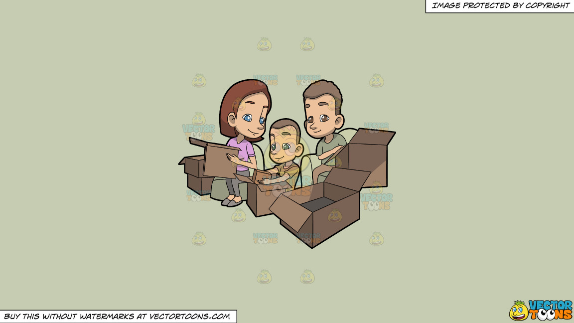 A Family Packing Together On A Solid Pale Silver C6ccb2 Background thumbnail