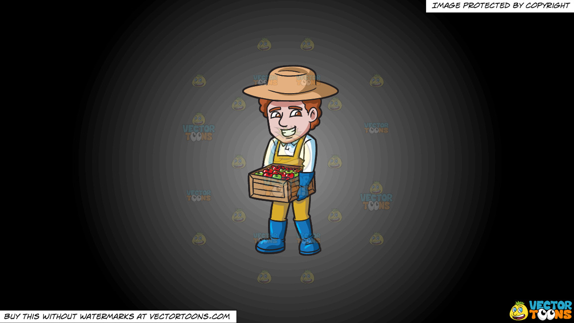 A Farmer Carrying A Box Of Apples On A Grey And Black Gradient Background thumbnail