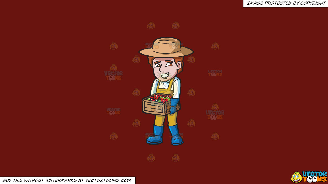 A Farmer Carrying A Box Of Apples On A Solid Maroon 69140e Background thumbnail