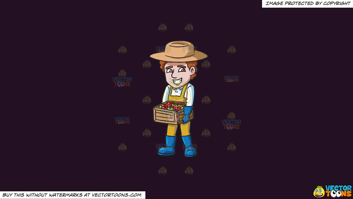 A Farmer Carrying A Box Of Apples On A Solid Purple Rasin 241023 Background thumbnail