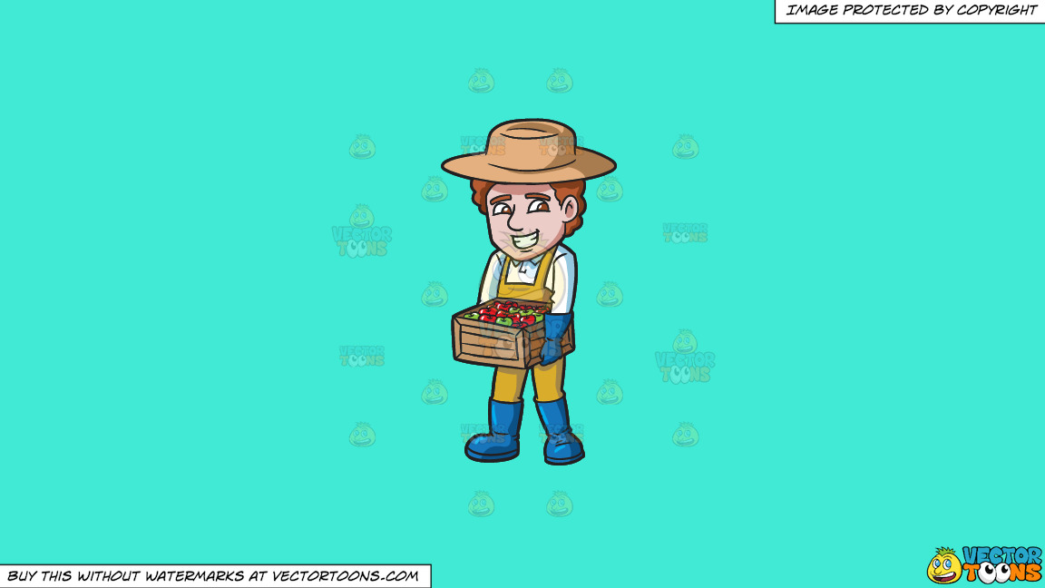 A Farmer Carrying A Box Of Apples On A Solid Turquiose 41ead4 Background thumbnail