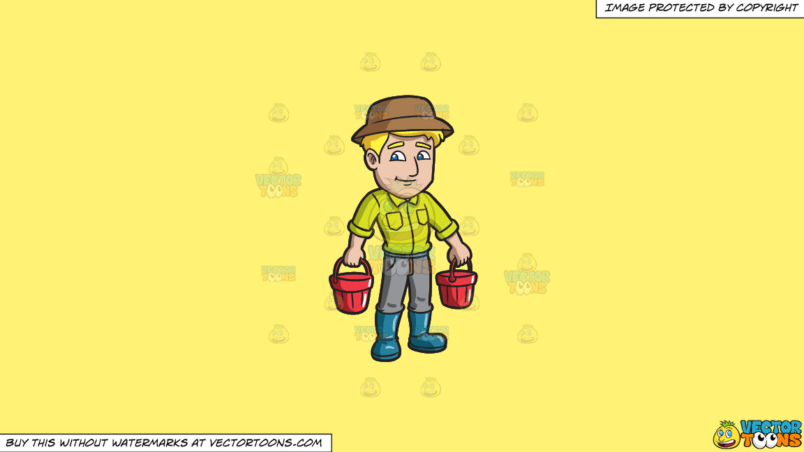 A Farmer Carrying Buckets On A Solid Sunny Yellow Fff275 Background thumbnail