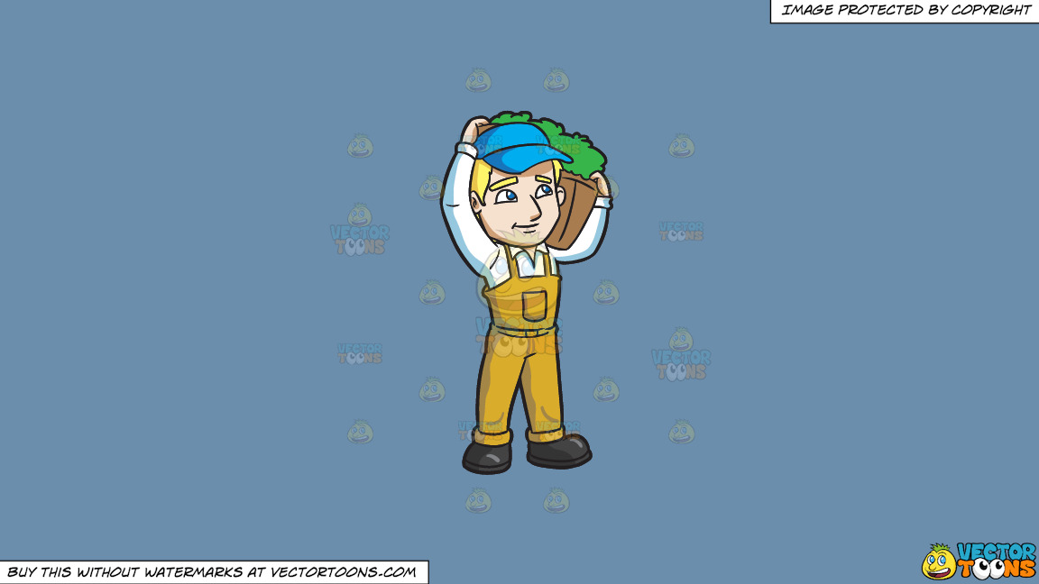 A Farmer Carrying The Vegetable That He Harvested On A Solid Shadow Blue 6c8ead Background thumbnail