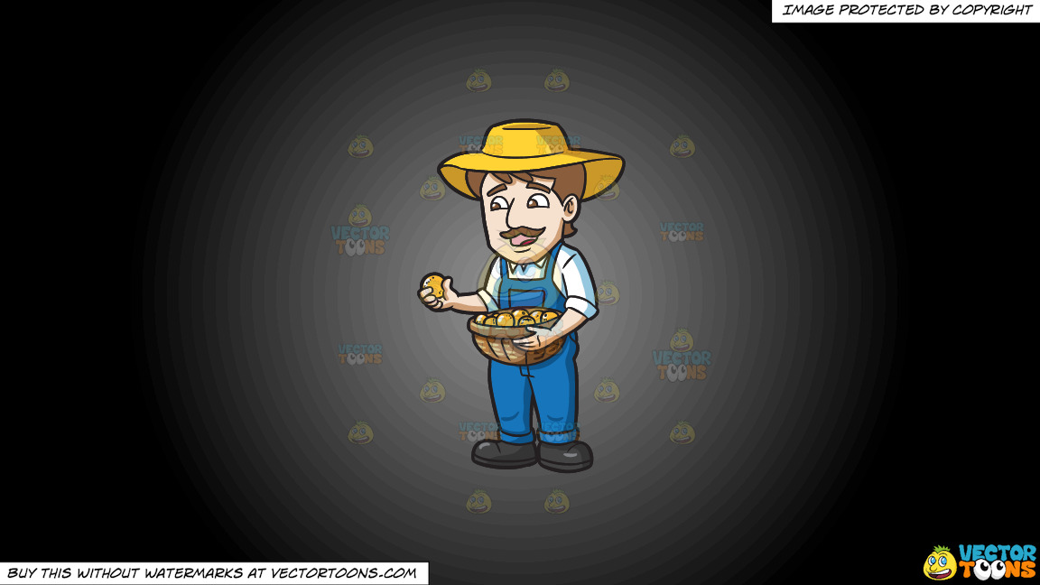A Farmer Harvesting Lemons On A Grey And Black Gradient Background thumbnail