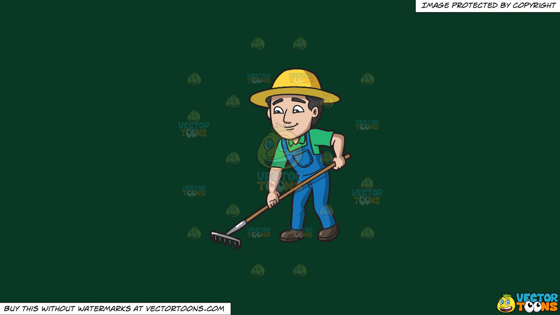 A Farmer Using A Rake To Plow The Field On A Solid Dark Green 093824 Background thumbnail
