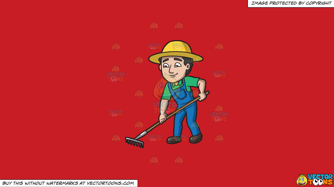A Farmer Using A Rake To Plow The Field On A Solid Fire Engine Red C81d25 Background thumbnail