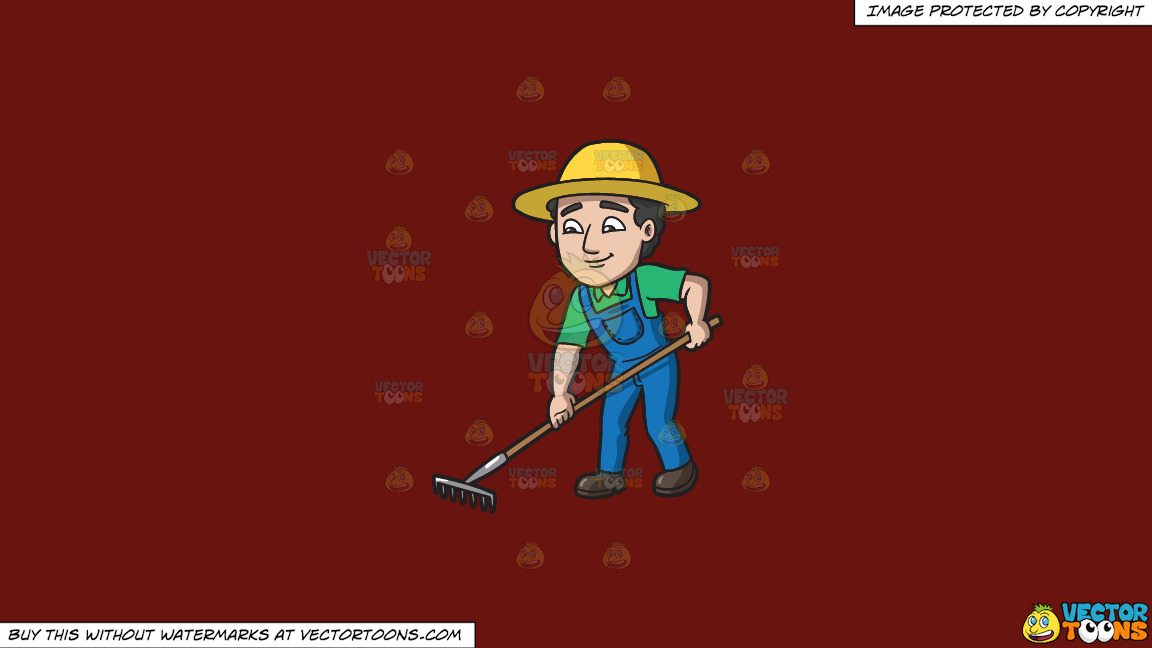 A Farmer Using A Rake To Plow The Field On A Solid Maroon 69140e Background thumbnail