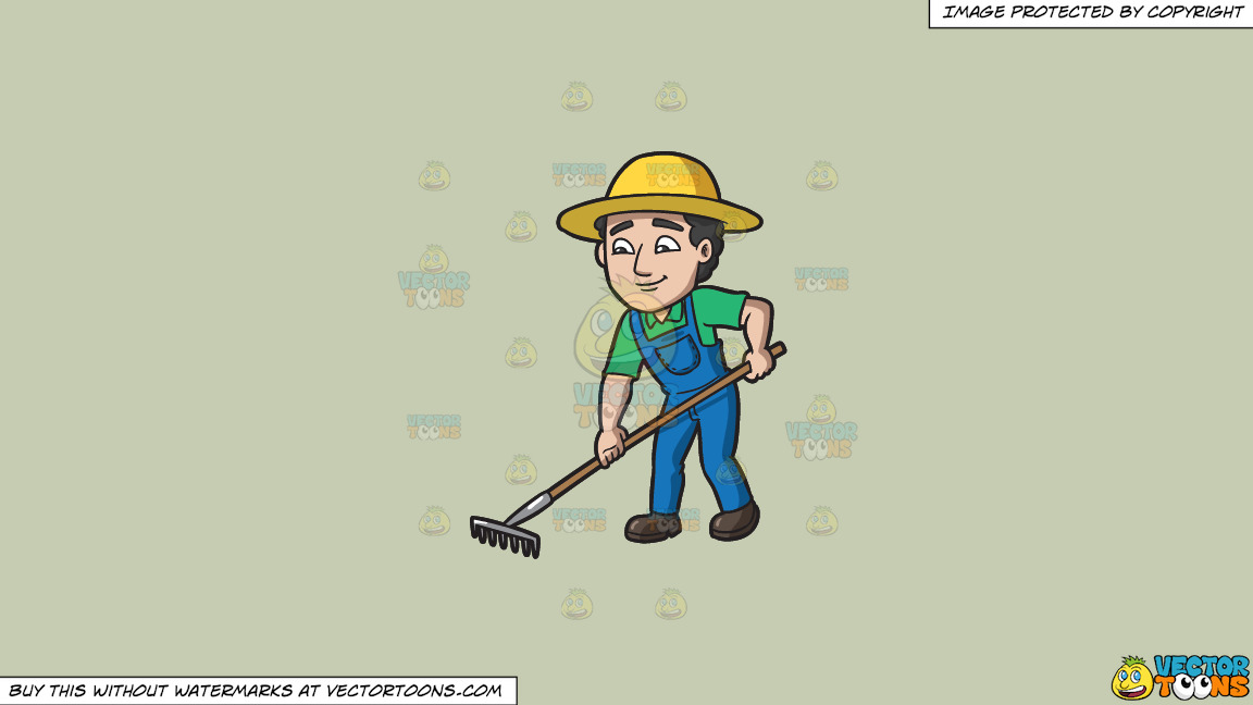 A Farmer Using A Rake To Plow The Field On A Solid Pale Silver C6ccb2 Background thumbnail