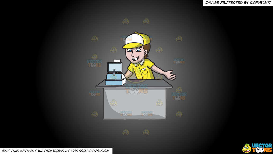 A Fast Food Cashier On A Grey And Black Gradient Background thumbnail