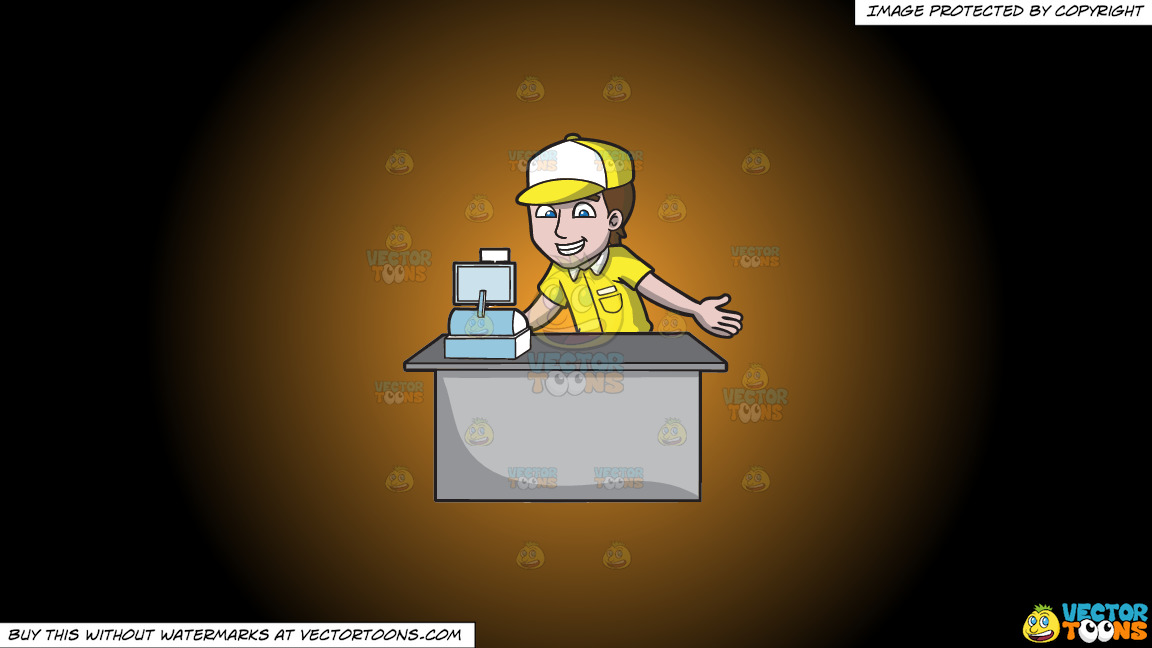 A Fast Food Cashier On A Orange And Black Gradient Background thumbnail