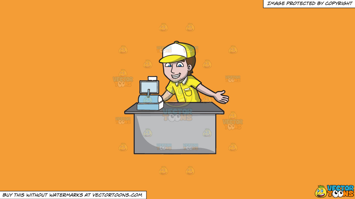 A Fast Food Cashier On A Solid Deep Saffron Gold F49d37 Background thumbnail