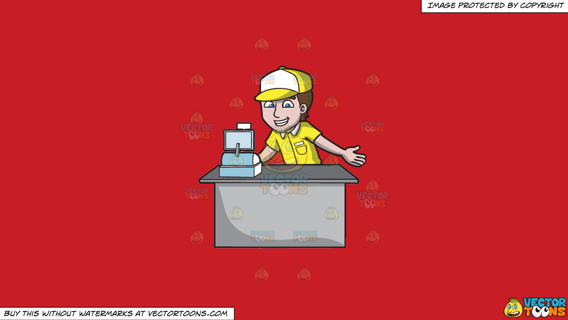 A Fast Food Cashier On A Solid Fire Engine Red C81d25 Background thumbnail