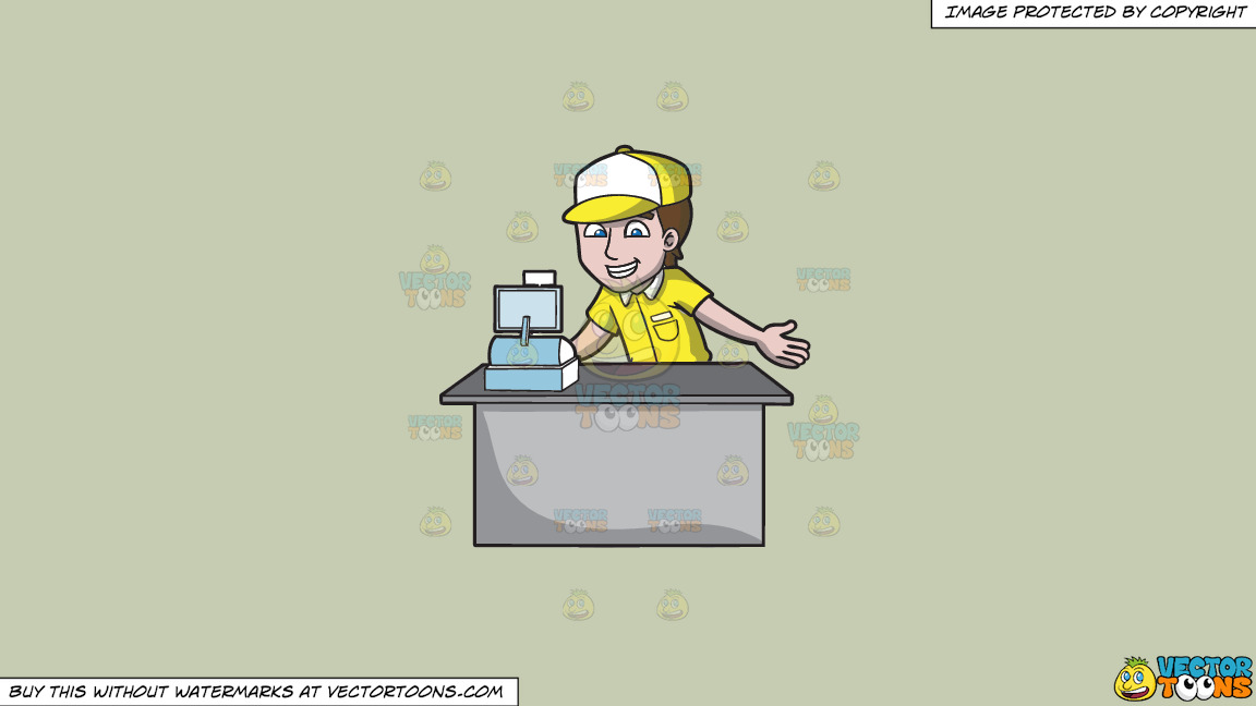 A Fast Food Cashier On A Solid Pale Silver C6ccb2 Background thumbnail