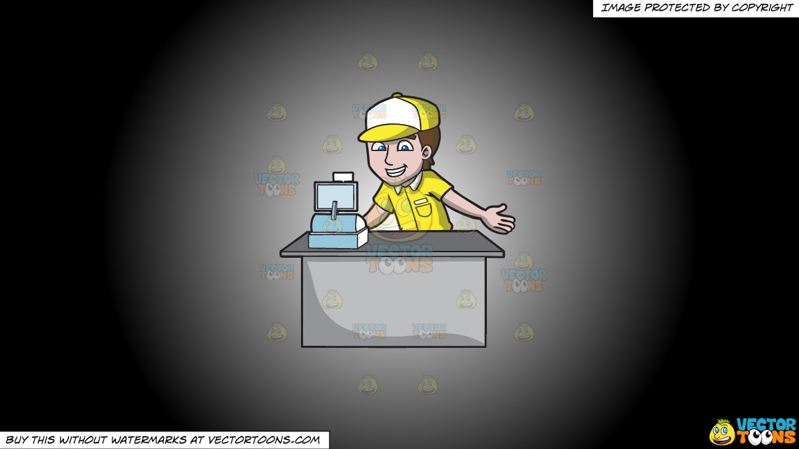 A Fast Food Cashier On A White And Black Gradient Background thumbnail