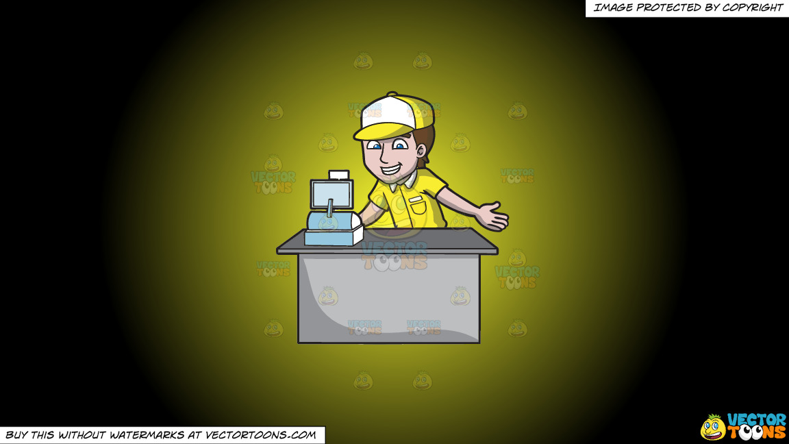 A Fast Food Cashier On A Yellow And Black Gradient Background thumbnail