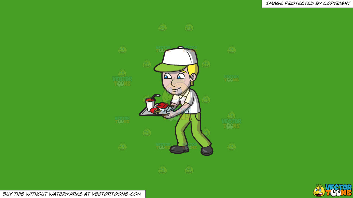A Fast Food Employee Serving Orders On A Solid Kelly Green 47a025 Background thumbnail