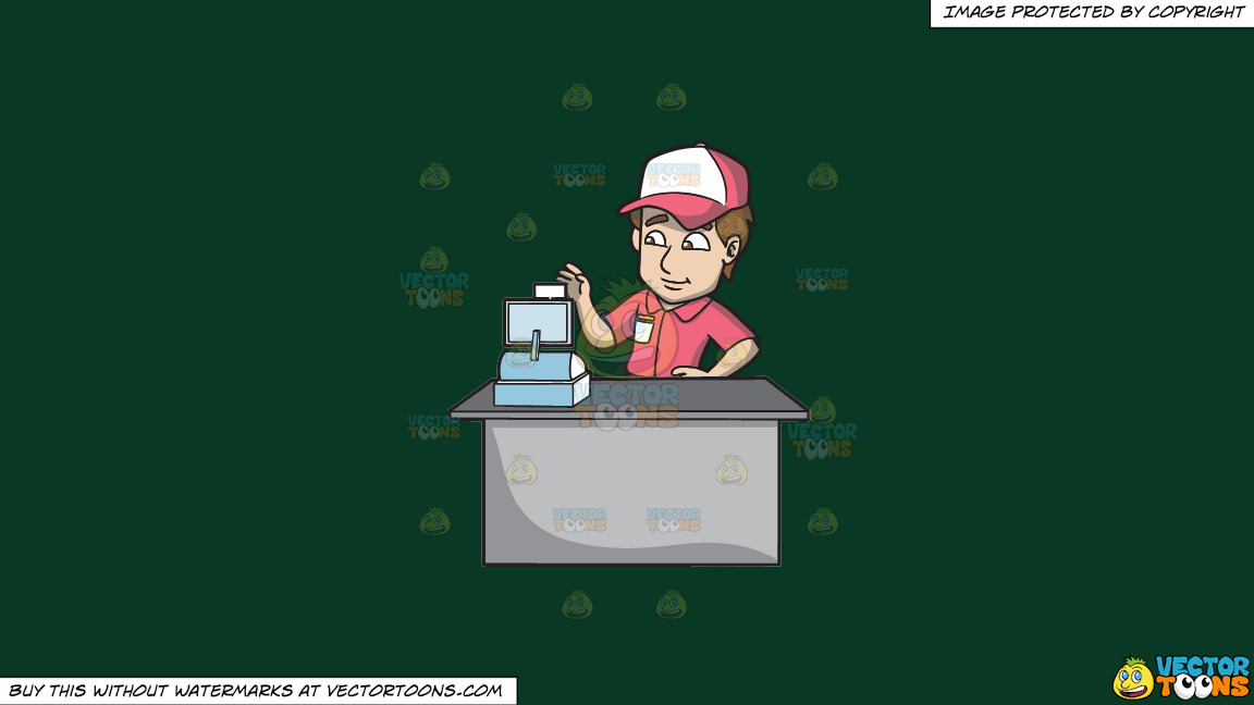 A Fast Food Employee Using The Cash Register On A Solid Dark Green 093824 Background thumbnail