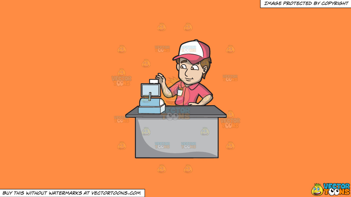 A Fast Food Employee Using The Cash Register On A Solid Mango Orange Ff8c42 Background thumbnail