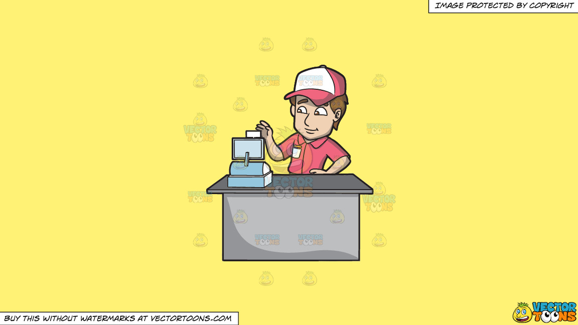 A Fast Food Employee Using The Cash Register On A Solid Sunny Yellow Fff275 Background thumbnail