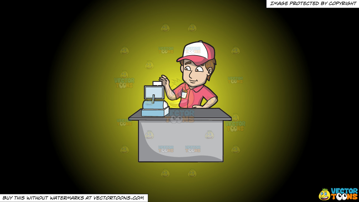 A Fast Food Employee Using The Cash Register On A Yellow And Black Gradient Background thumbnail