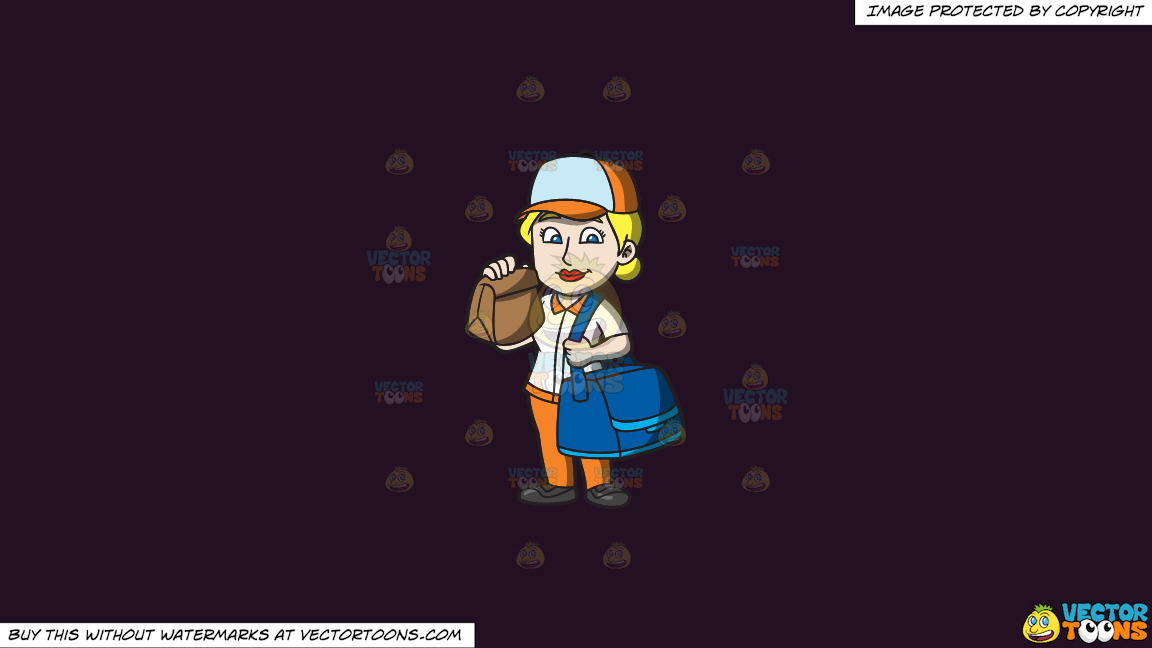 A Fast Food Female Employee Delivering Orders On A Solid Purple Rasin 241023 Background thumbnail