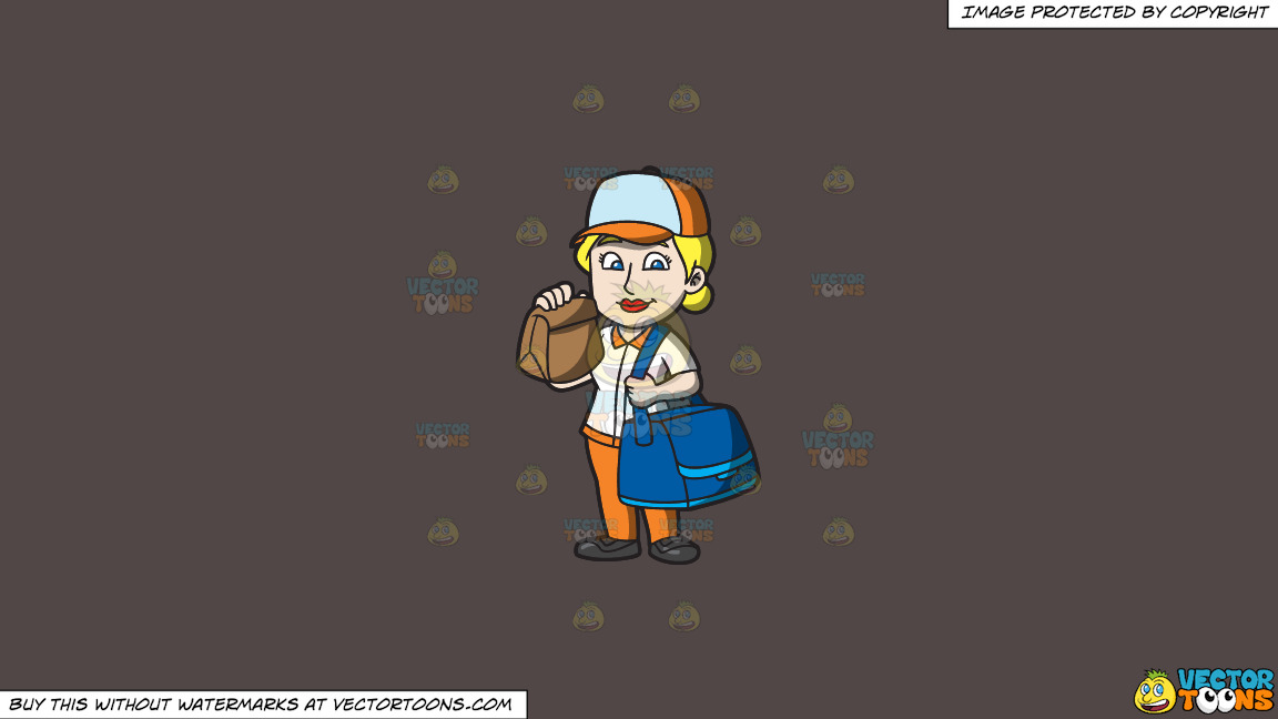 A Fast Food Female Employee Delivering Orders On A Solid Quartz 504746 Background thumbnail