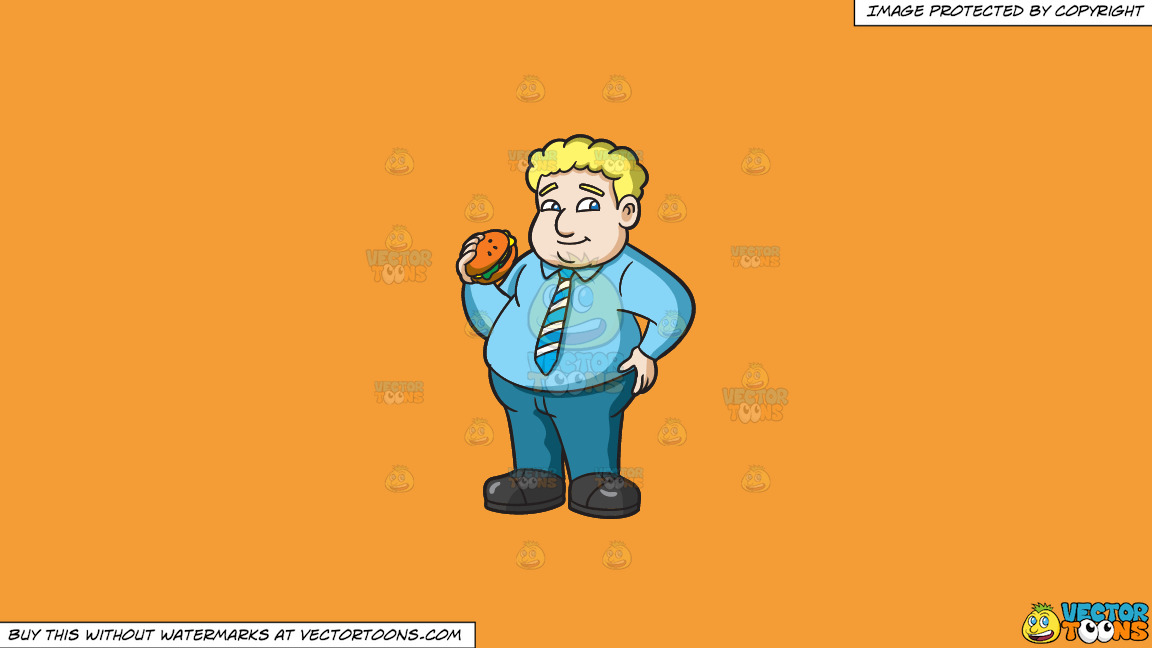 A Fat Man With A Hamburger On A Solid Deep Saffron Gold F49d37 Background thumbnail