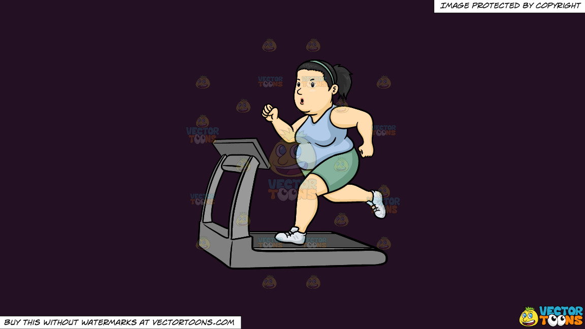 A Fat Woman Using The Treadmill To Lose Weight On A Solid Purple Rasin 241023 Background thumbnail