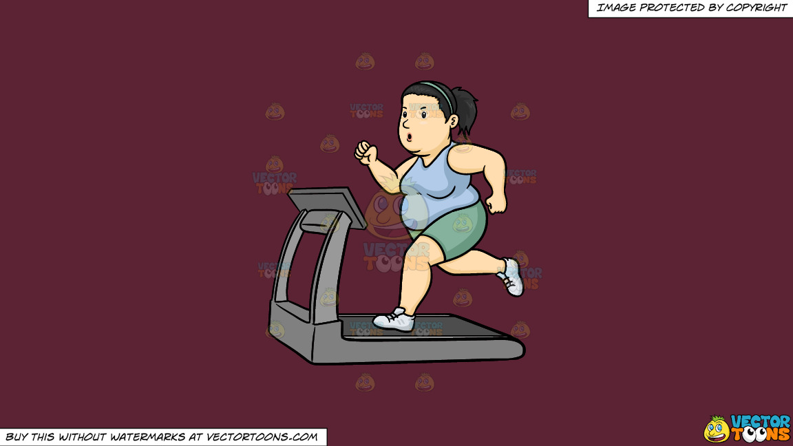 A Fat Woman Using The Treadmill To Lose Weight On A Solid Red Wine 5b2333 Background thumbnail