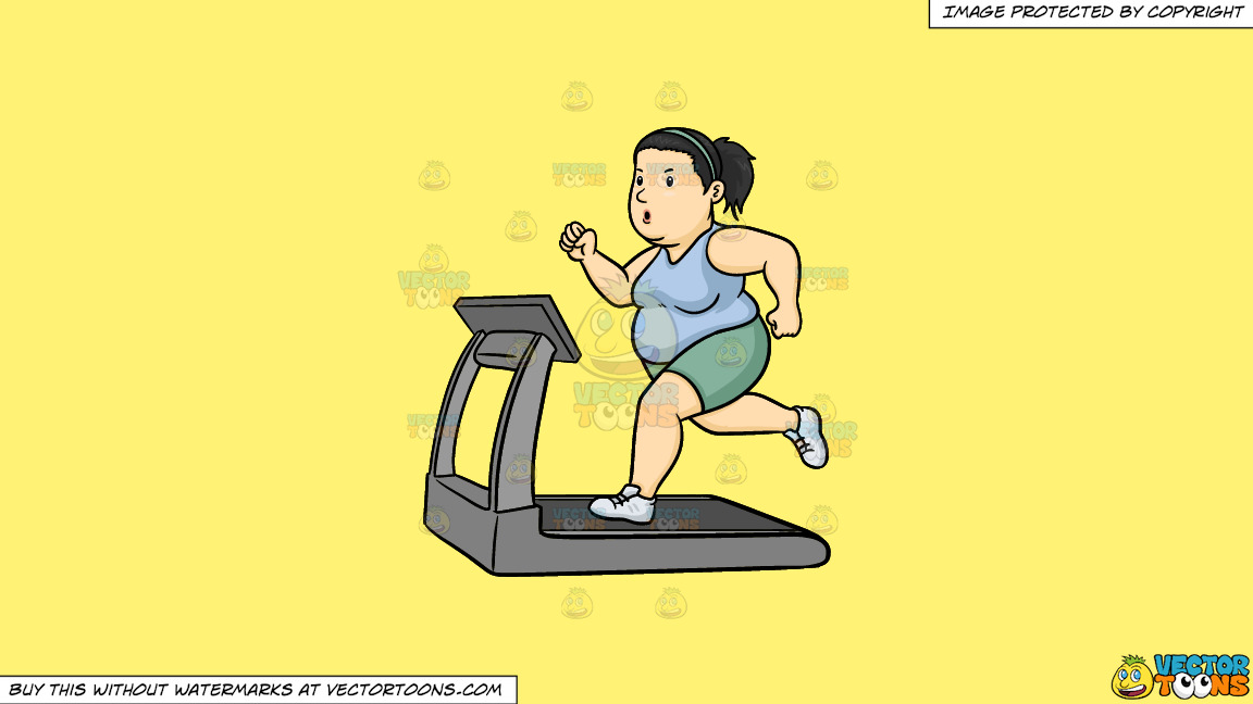 A Fat Woman Using The Treadmill To Lose Weight On A Solid Sunny Yellow Fff275 Background thumbnail
