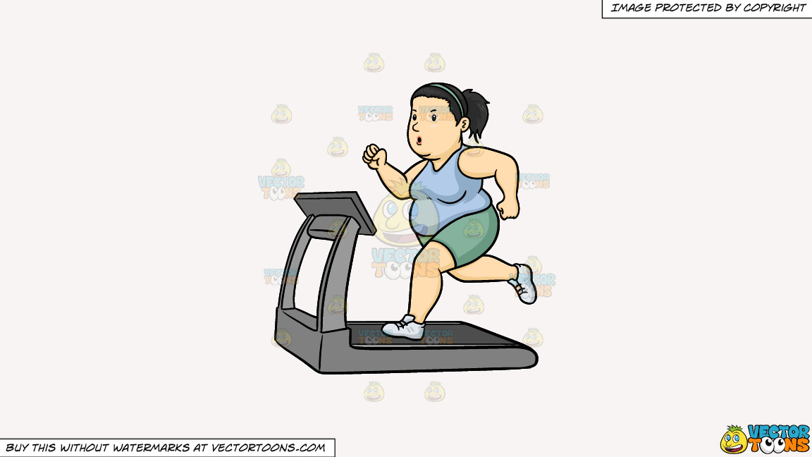 A Fat Woman Using The Treadmill To Lose Weight On A Solid White Smoke F7f4f3 Background thumbnail