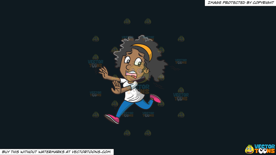 A Fearful Black Woman Running Away From Something On A Solid Off Black 0f1a20 Background thumbnail