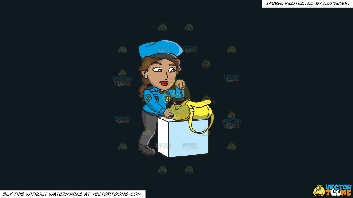 A Female Airport Security Guard Inspecting A Bag On A Solid Off Black 0f1a20 Background thumbnail