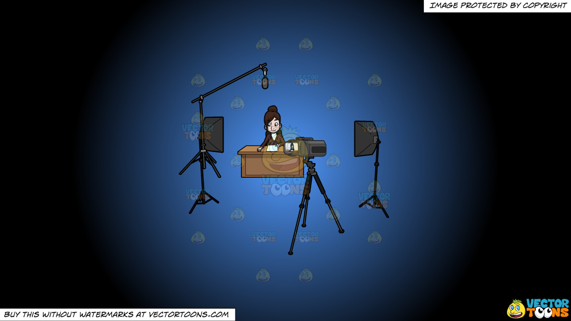 A Female Anchor Rehearses Before Filming On A Blue And Black Gradient Background thumbnail