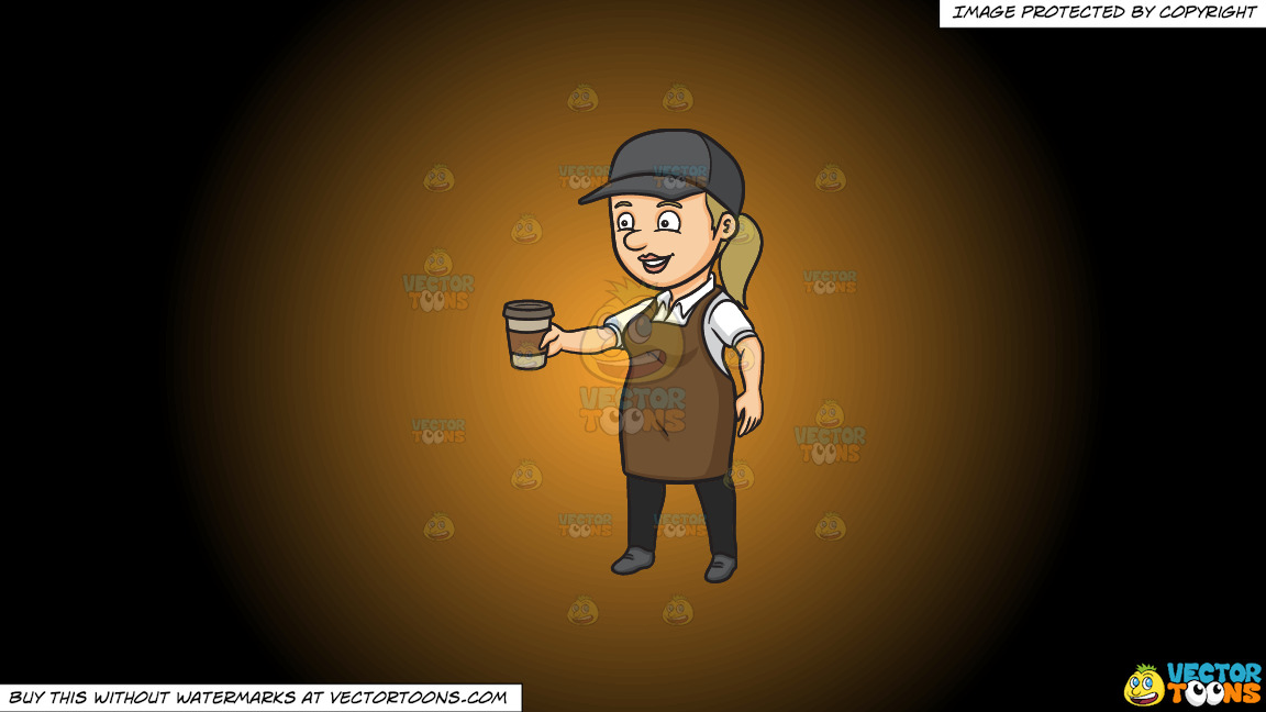 A Female Barista Serving Hot Coffee To Go On A Orange And Black Gradient Background thumbnail