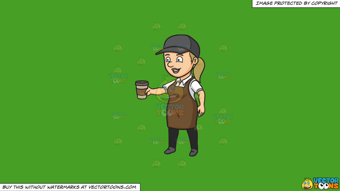 A Female Barista Serving Hot Coffee To Go On A Solid Kelly Green 47a025 Background thumbnail