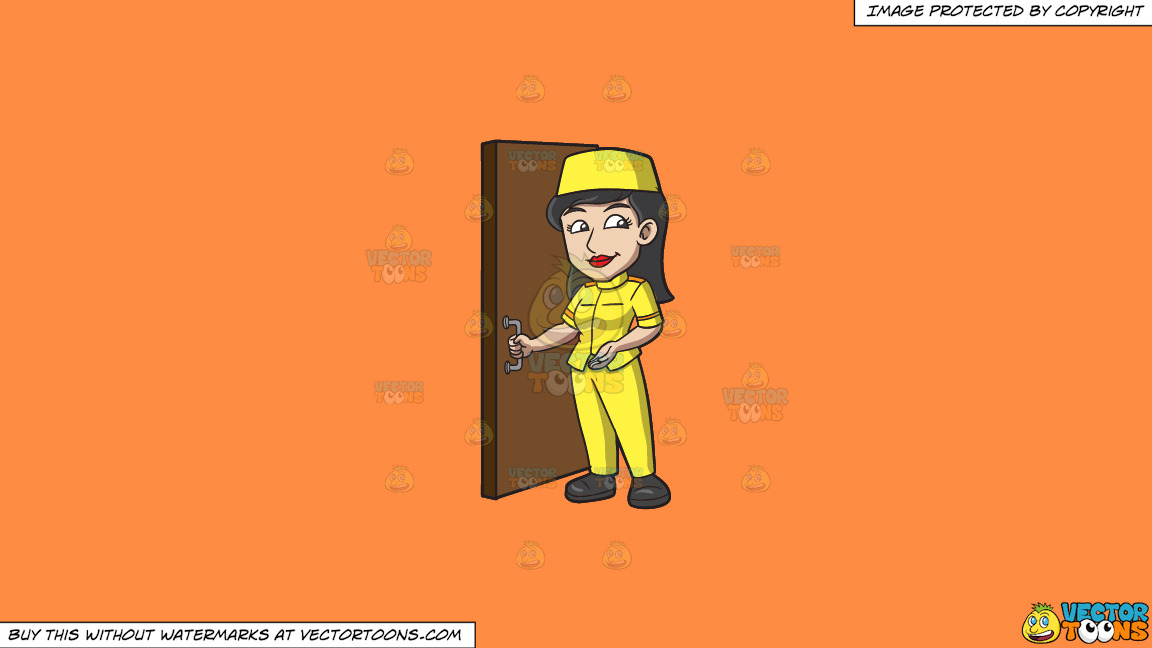 A Female Bellhop Opening The Door For Guests On A Solid Mango Orange Ff8c42 Background thumbnail