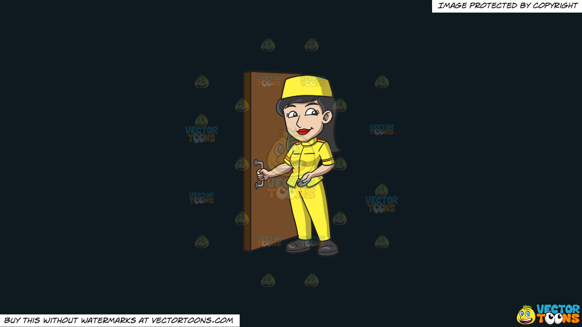 A Female Bellhop Opening The Door For Guests On A Solid Off Black 0f1a20 Background thumbnail