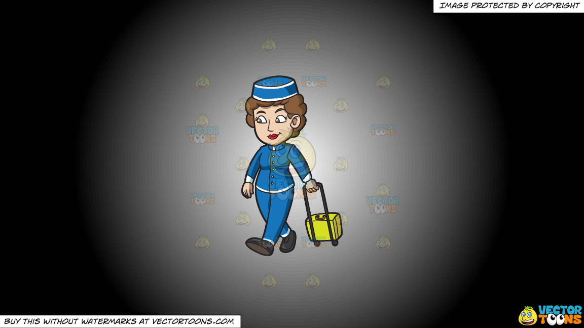 A Female Bellhop Pulling A Suitcase Behind Her On A White And Black Gradient Background thumbnail