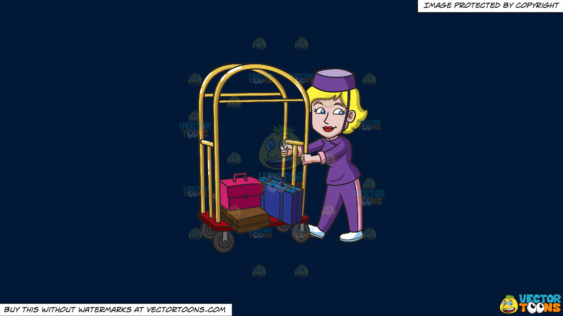 A Female Bellhop Pushing A Luggage Cart On A Solid Dark Blue 011936 Background thumbnail