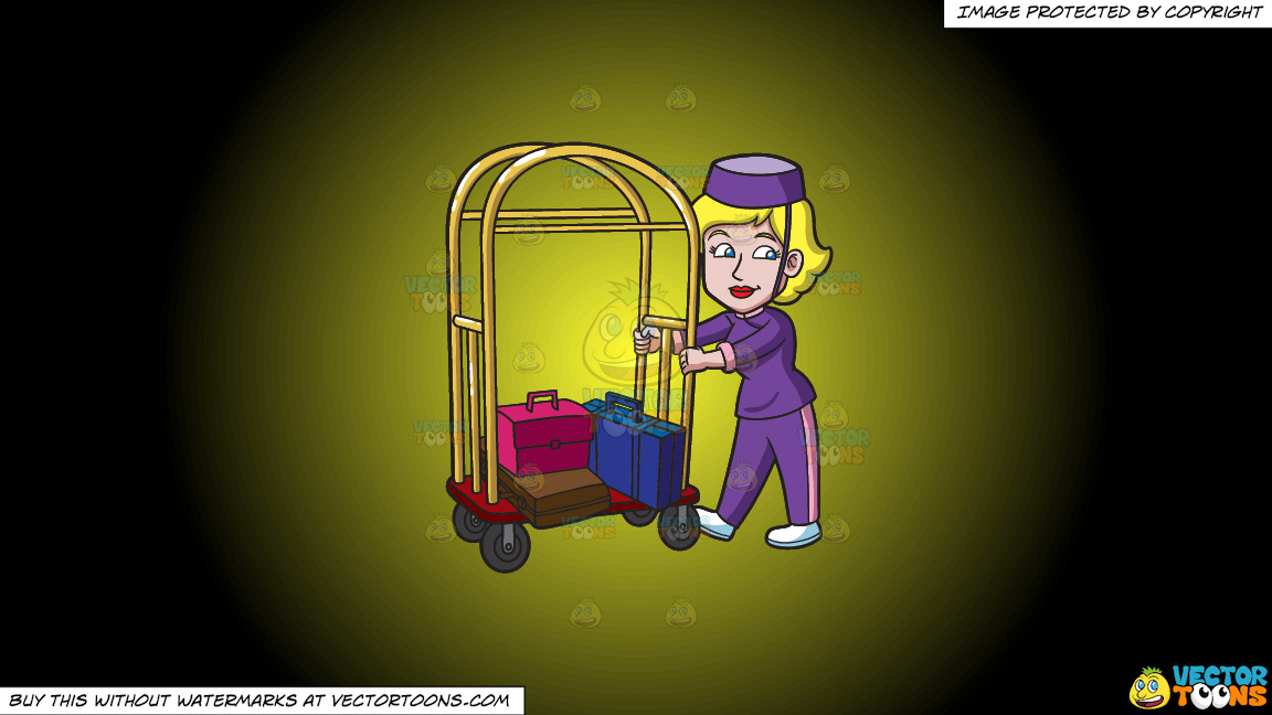 A Female Bellhop Pushing A Luggage Cart On A Yellow And Black Gradient Background thumbnail
