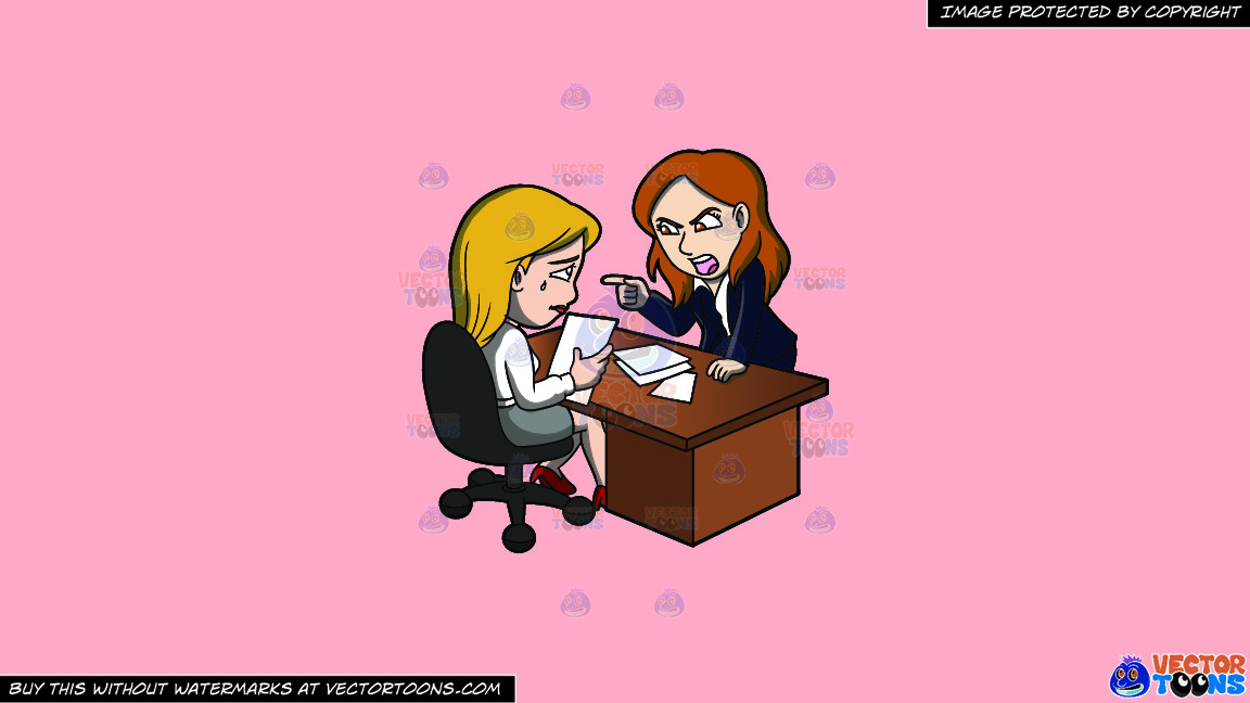 A Female Boss Scolding Her Assistant At Work On A Solid Melon Fcb9b2 Background thumbnail