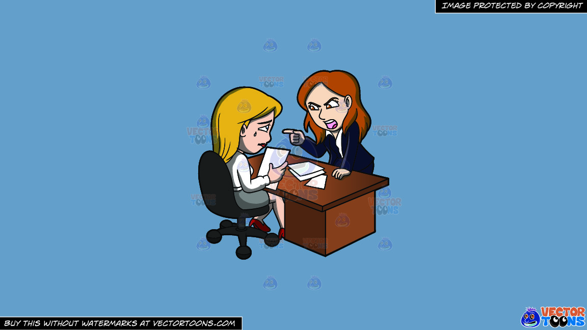 A Female Boss Scolding Her Assistant At Work On A Solid Shadow Blue 6c8ead Background thumbnail